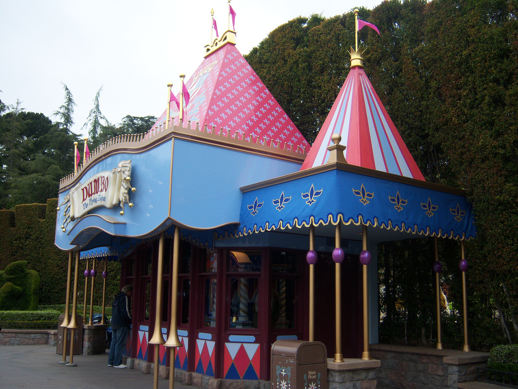As you walk around Fantasyland, it is hard to miss the Disney tunes being played by the vintage mechanical band organ behind Dumbo the Flying Elephant attraction.  The band was built around 1915 by Gavioli, a well-known European manufacturer of circus organs. According to Disney, the organ weighs three-quarters of a ton and on a clear day can be heard over a mile away. It plays 28 minutes of Disney tunes using its wide-range of musical effects.