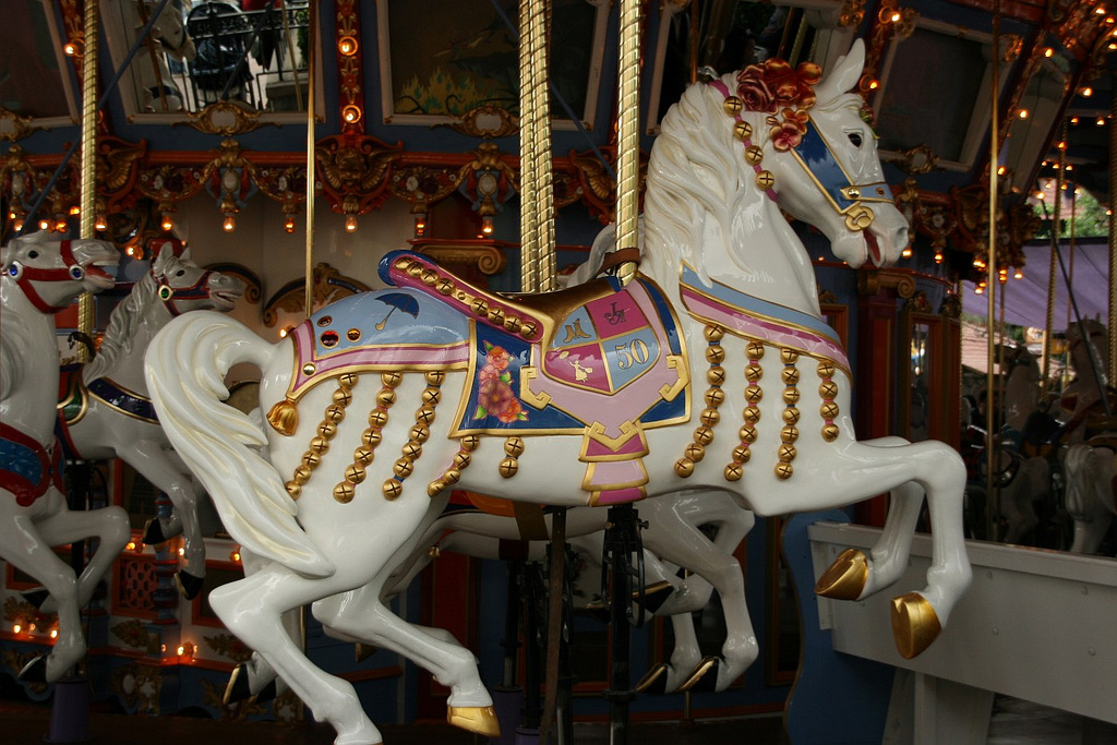 Did you know that Disneyland's carousel has a lead horse? Jingles is the only one of the hand carved, wooden horses that is adorned with little bells (which is how the horse got its name). This horse was painted gold for Disneyland's 50th anniversary. It was later dedicated to Julie Andrews in honor of the carousel horse she rides in the movie Mary Poppins.