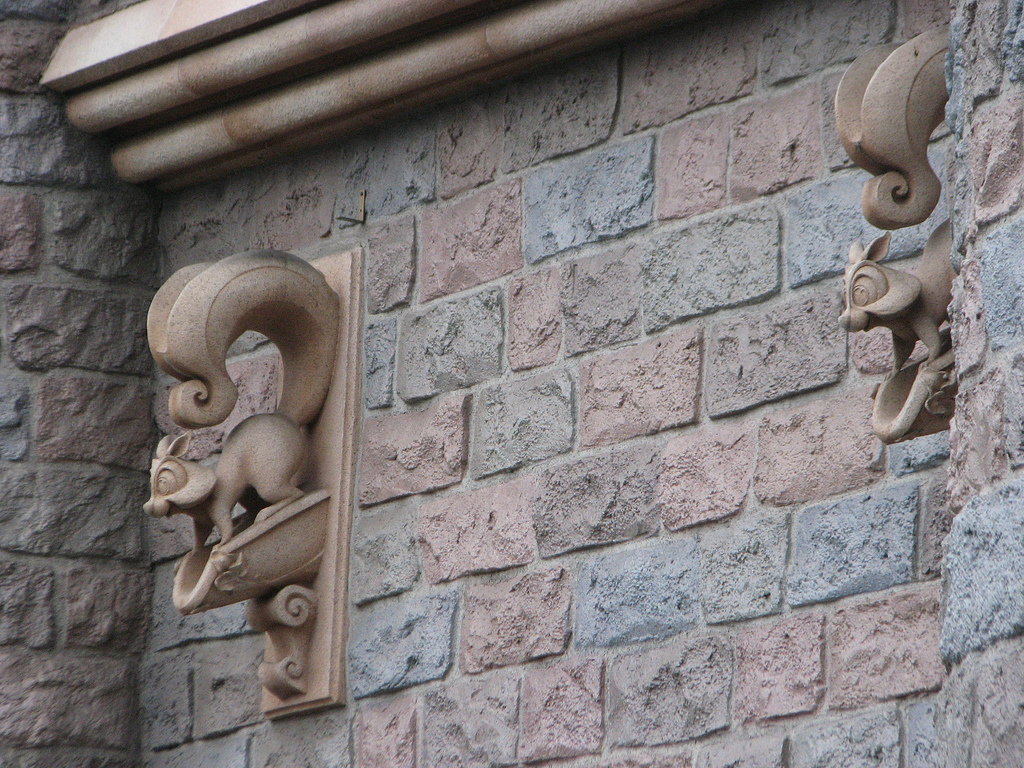 Squirrel drain spouts on sleeping beauty castle at Disneyland