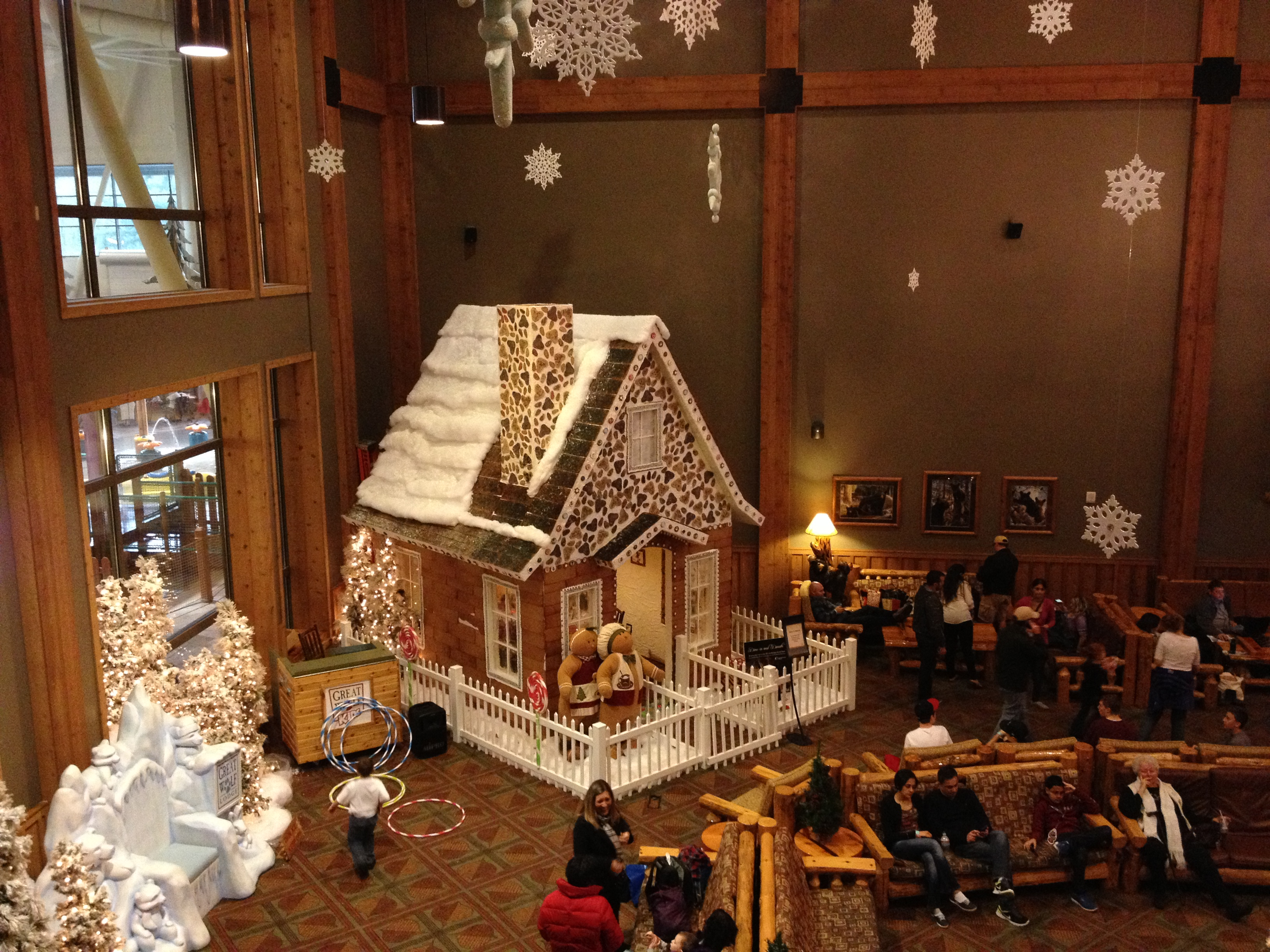 family dining inside the great wolf lodge gingerbread house dad logic